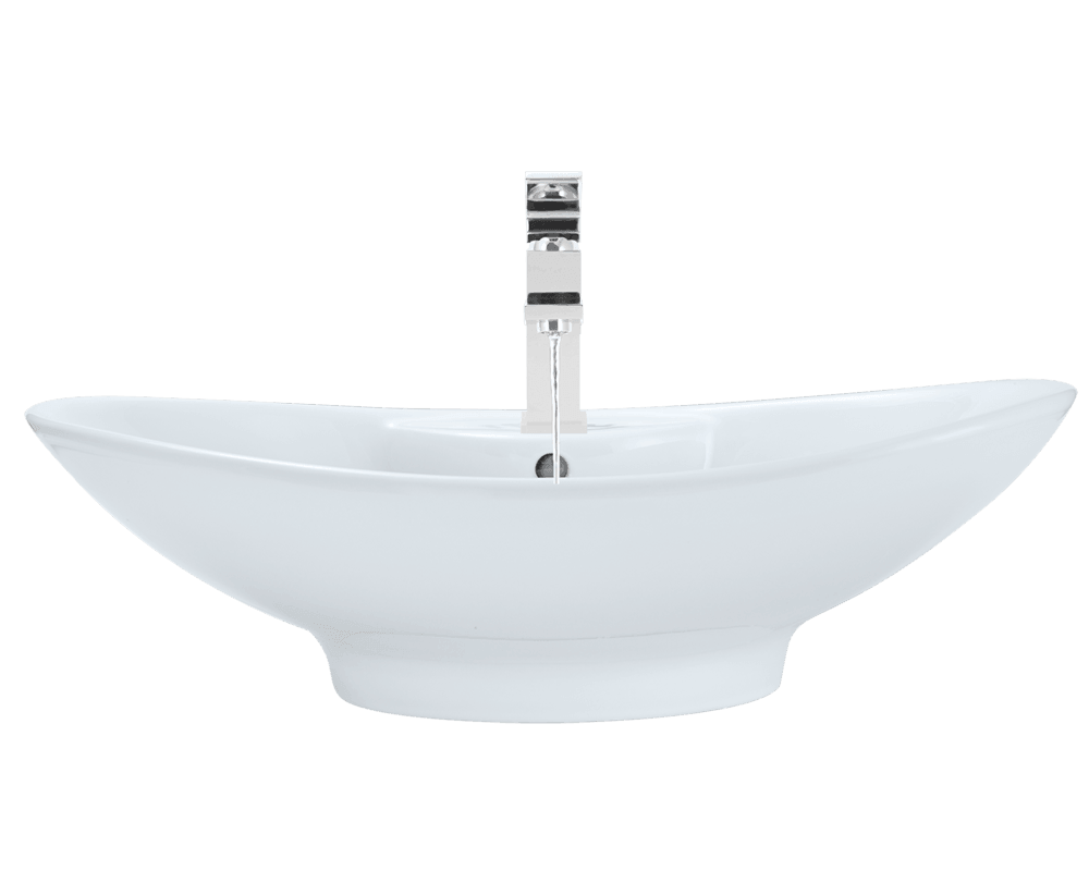 V2102-White Alt Image: Vitreous China Oval White Vessel Bathroom Sink