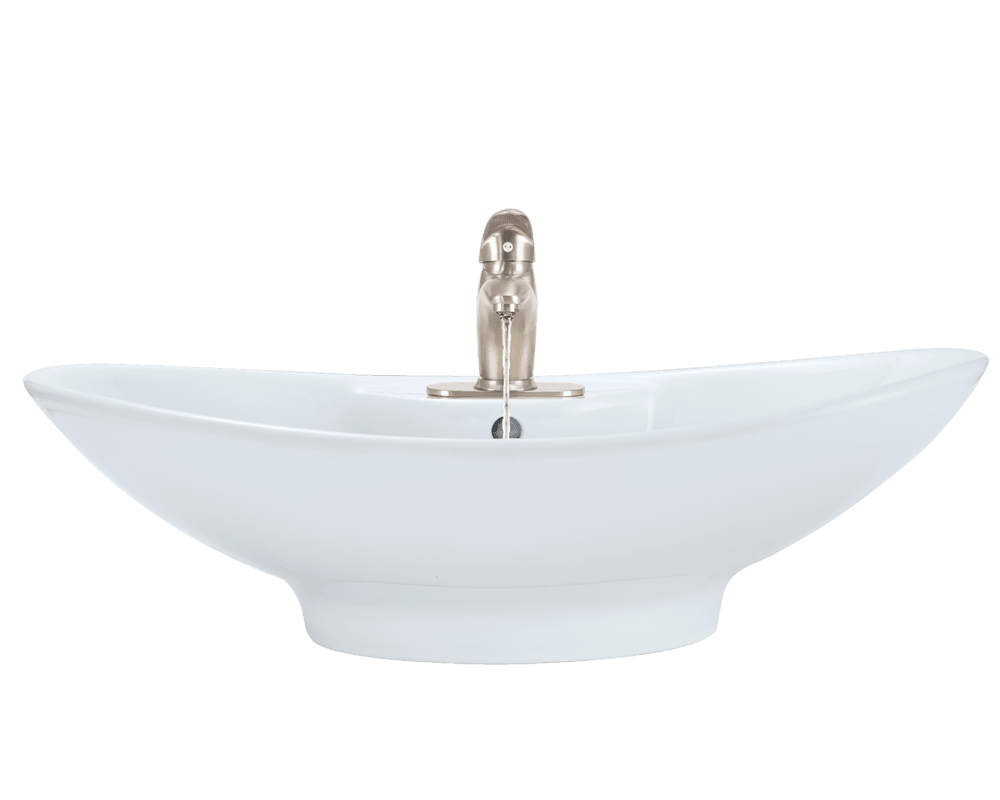 V2102-White Alt Image: Vitreous China Vessel Oval White Bathroom Sink