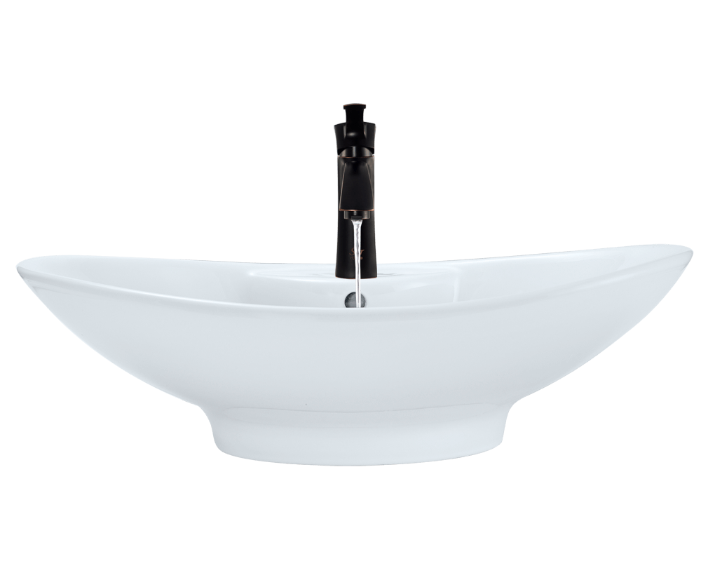 V2102-White Alt Image: Vitreous China Vessel White Oval Bathroom Sink