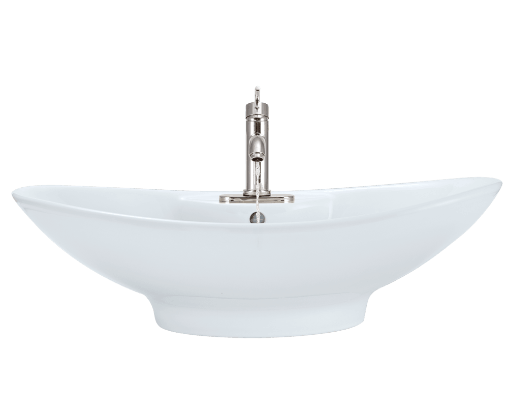 V2102-White Alt Image: Vitreous China White Vessel Oval Bathroom Sink