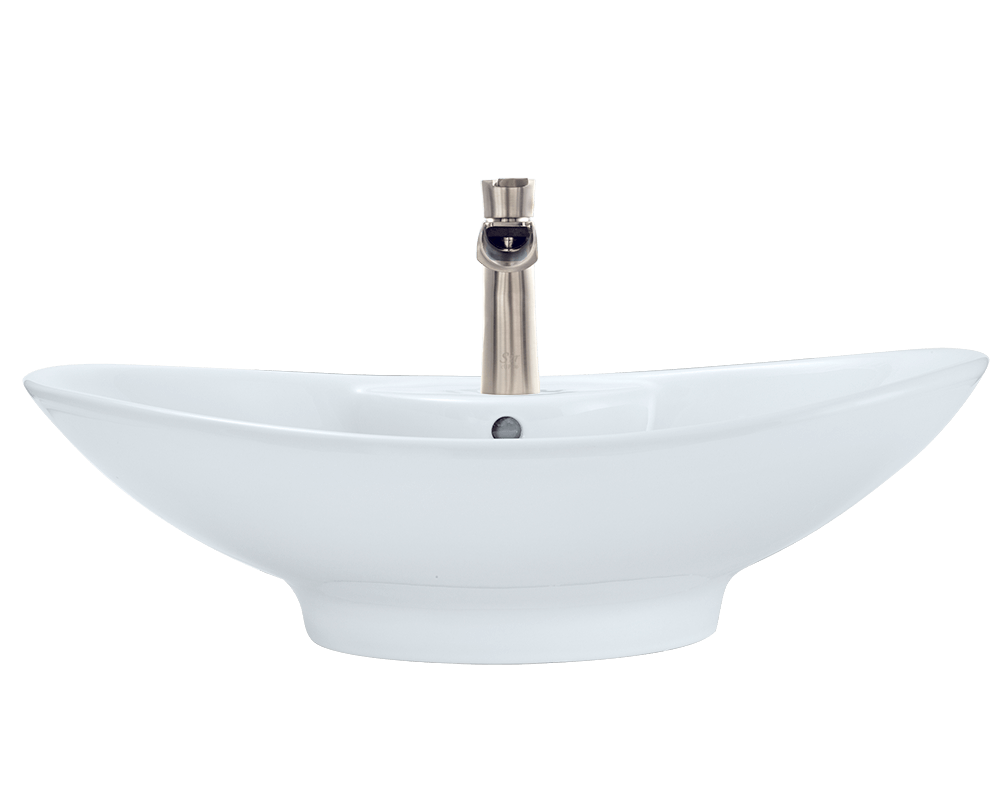 V2102-White Alt Image: Vitreous China White Oval Vessel Bathroom Sink