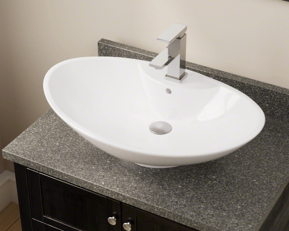 V2102-White Lifestyle Image: Vitreous China Oval White Vessel Bathroom Sink
