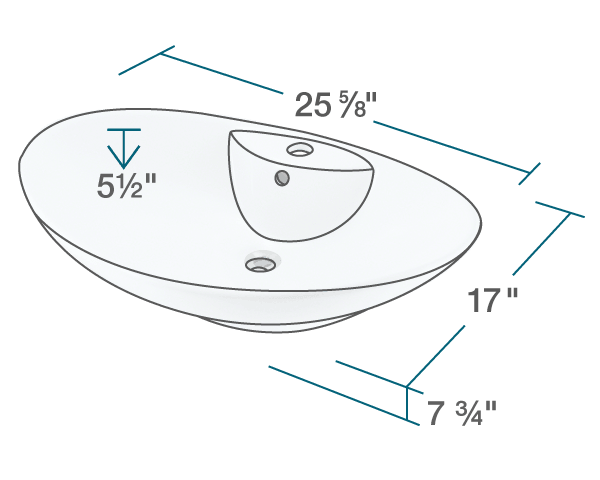 "The dimensions of V2102-White Porcelain Vessel Sink is 25 5/8"" x 17"" x 7 3/4"". Its minimum cabinet size is 27""."
