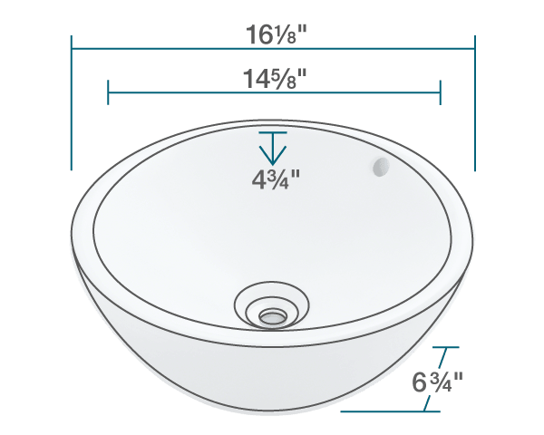 "The dimensions of V2200-White Porcelain Vessel Sink is 16 1/8"" x 16 1/8"" x 6 3/4"". Its minimum cabinet size is 18""."