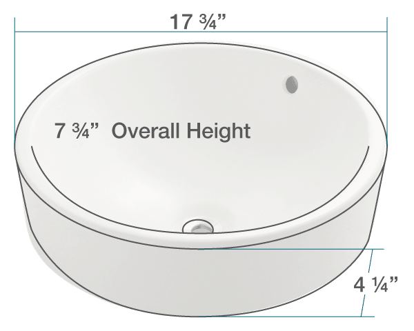 "The dimensions of V2218-Bisque Porcelain Vessel Sink is 17 3/4"" x 17 3/4"" x 7 3/4"". Its minimum cabinet size is 18""."