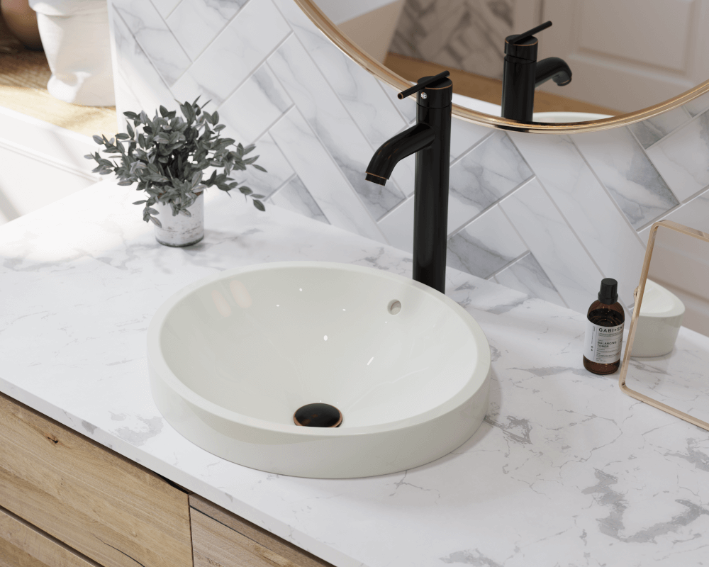 V22182-Bisque Lifestyle Image: Vitreous China Topmount Bisque Round Bathroom Sink