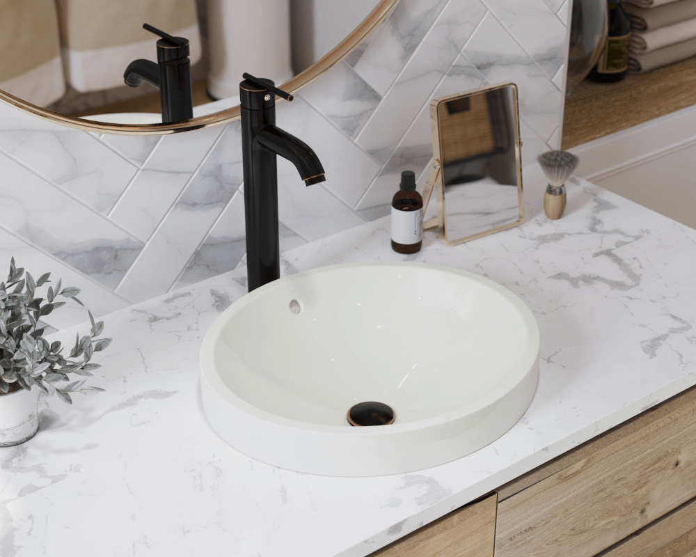 V22182-Bisque Lifestyle Image: Vitreous China Round Topmount Bisque Bathroom Sink