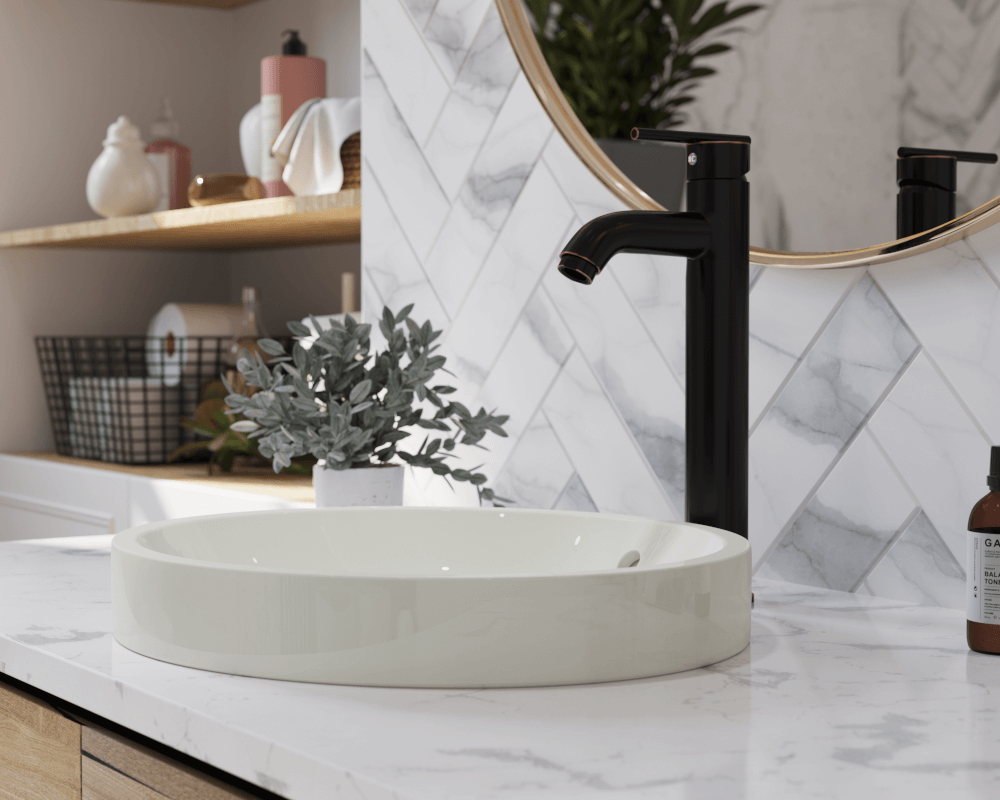 V22182-Bisque Lifestyle Image: Vitreous China Round Bisque Topmount Bathroom Sink
