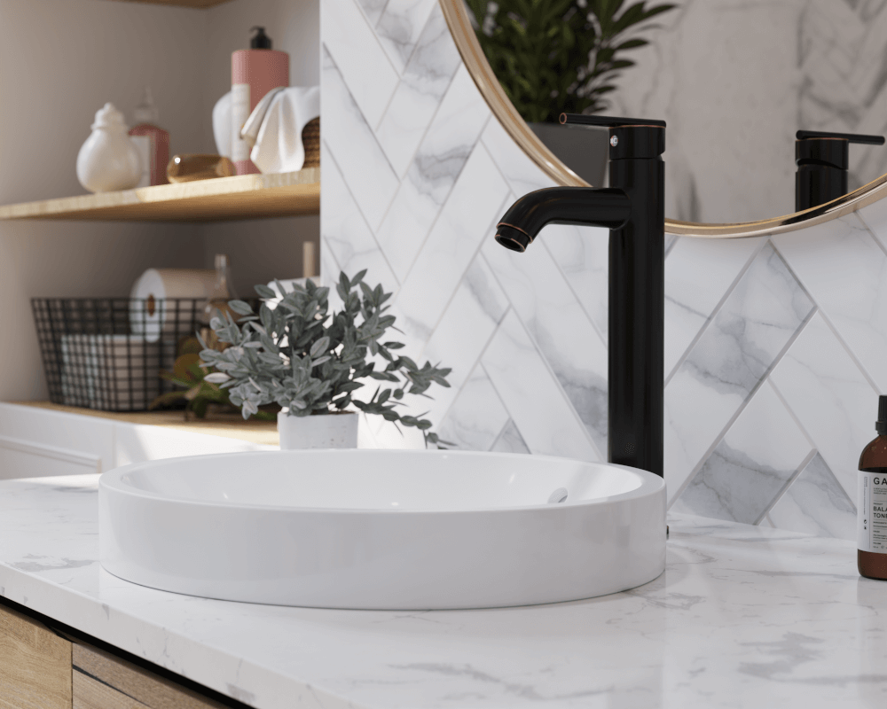 V22182-White Lifestyle Image: Vitreous China Round Vessel White Bathroom Sink