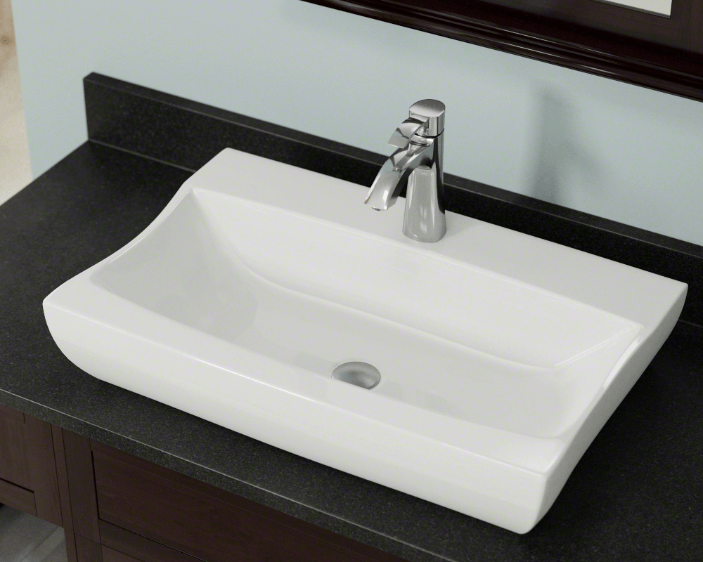 V2302-Bisque Lifestyle Image: Vitreous China Round Bisque Vessel Bathroom Sink