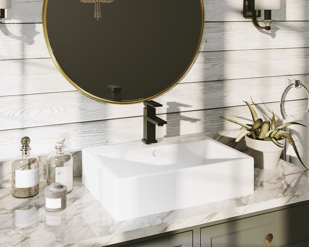 V2502-White Lifestyle Image: Vitreous China Rectangle White Vessel Bathroom Sink
