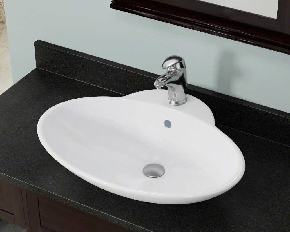 V260-White Lifestyle Image: Vitreous China Oval White Vessel Bathroom Sink
