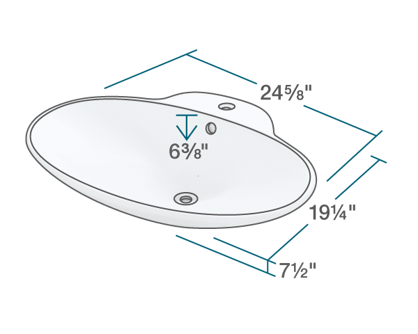 "The dimensions of V260-White Porcelain Vessel Sink is 24 5/8"" x 19 1/4"" x 7 1/2"". Its minimum cabinet size is 27""."