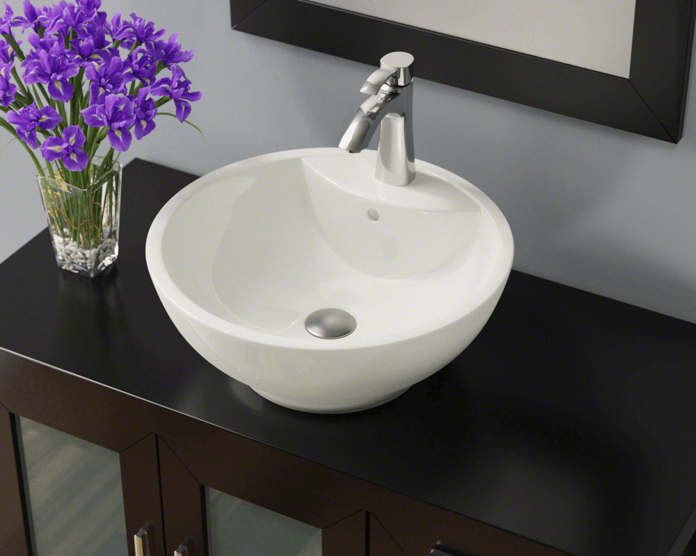 V2702-Bisque Lifestyle Image: Vitreous China Vessel Limited Lifetime One Bowl Bathroom Sink