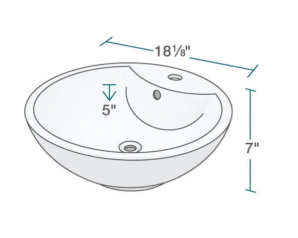 "The dimensions of V2702-Bisque Porcelain Vessel Sink is 18 1/8"" x 18 1/8"" x 7"". Its minimum cabinet size is 21""."