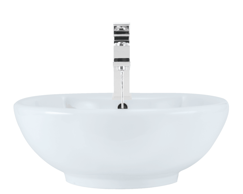 V2702-White Alt Image: Vitreous China Vessel Limited Lifetime One Bowl Bathroom Sink