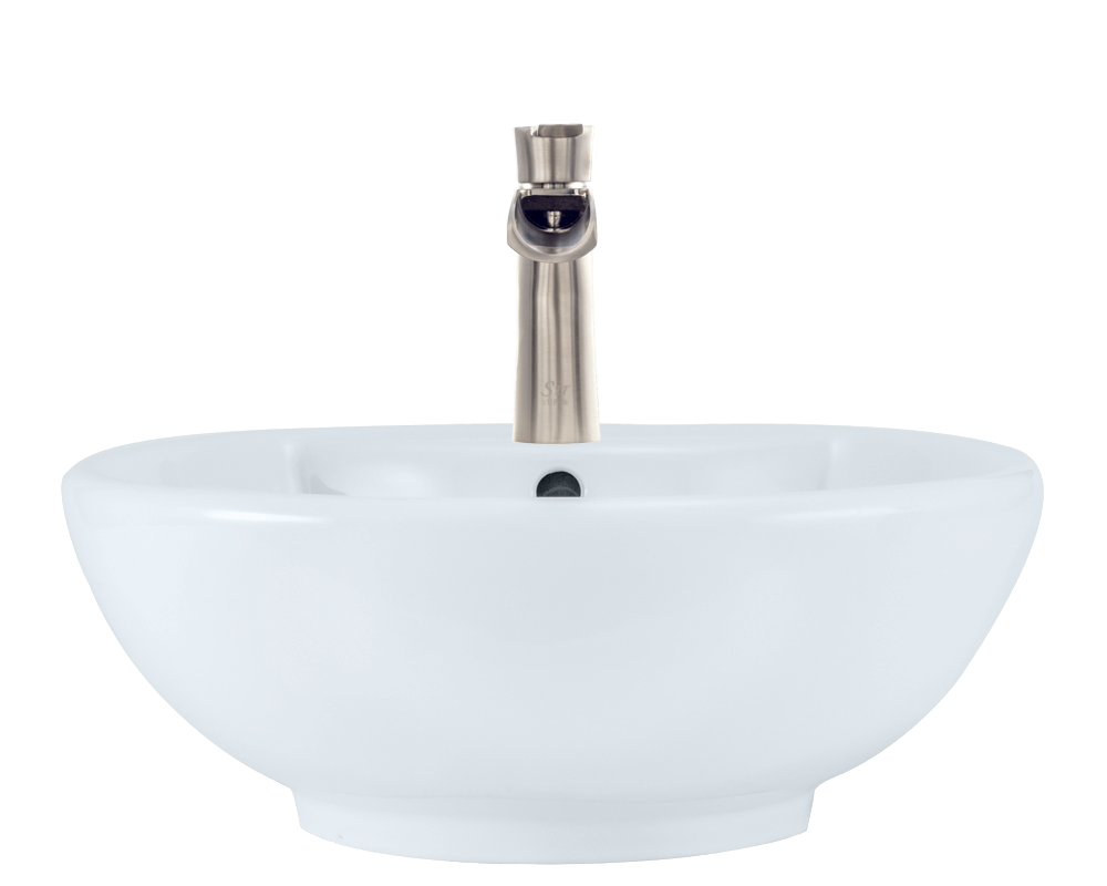 V2702-White Alt Image: Vitreous China Limited Lifetime Vessel One Bowl Bathroom Sink