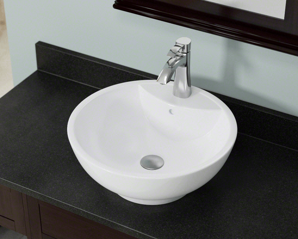 V2702-White Lifestyle Image: Vitreous China Vessel Limited Lifetime One Bowl Bathroom Sink