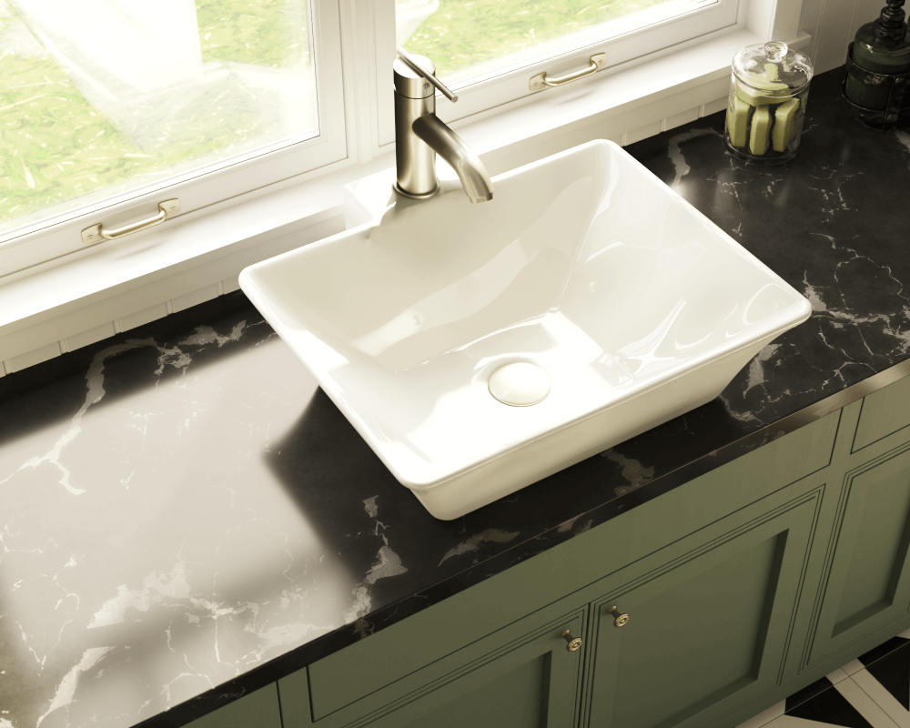 V290-Bisque Lifestyle Image: Vitreous China Rectangle Vessel Bisque Bathroom Sink