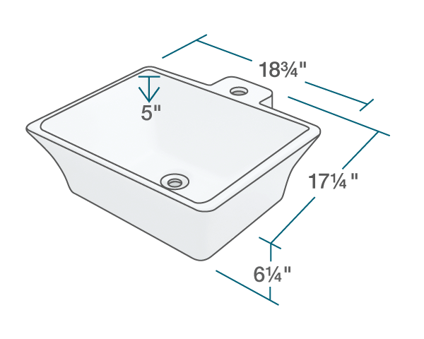 "The dimensions of V290-White Vessel Porcelain Sink is 18 3/4"" x 17 1/4"" x 6 1/4"". Its minimum cabinet size is 21""."