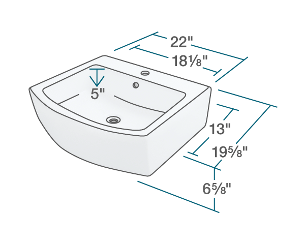 "The dimensions of V300-White Porcelain Vessel Sink is 22"" x 19 5/8"" x 6 5/8"". Its minimum cabinet size is 24""."