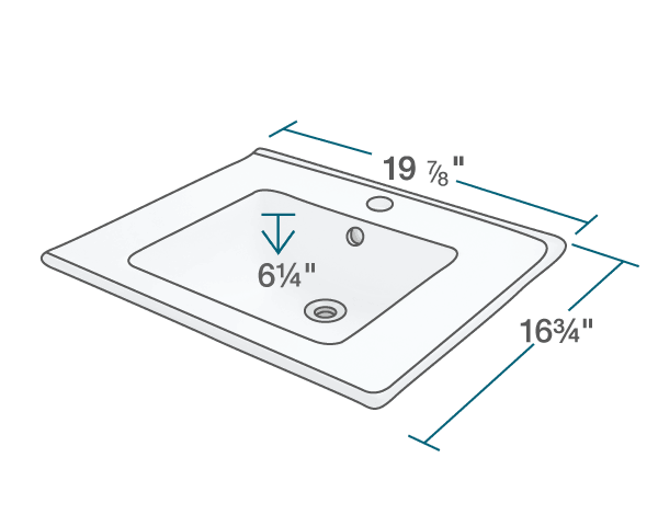 "The dimensions of V310-White Porcelain Vessel Sink is 19 7/8"" x 16 3/4"" x 6 1/4"". Its minimum cabinet size is 21""."