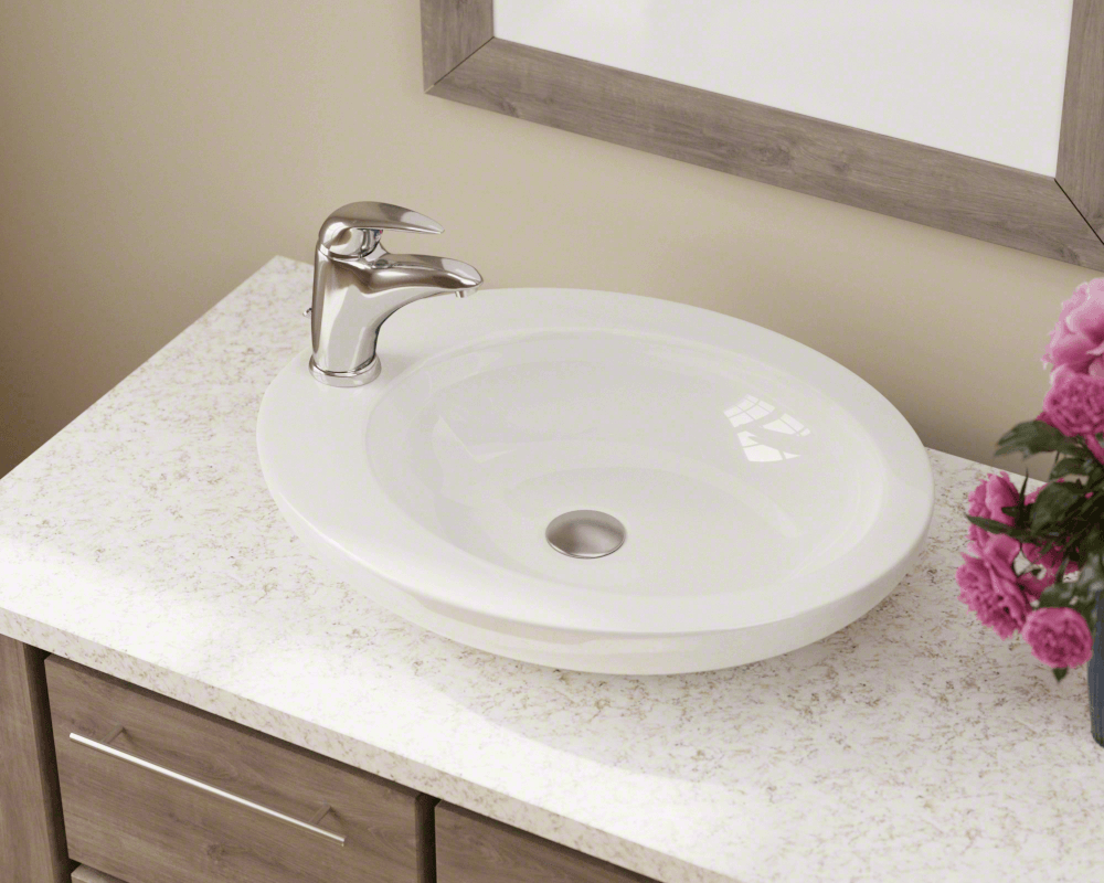 V3202-Bisque Lifestyle Image: Vitreous China Vessel Limited Lifetime One Bowl Bathroom Sink