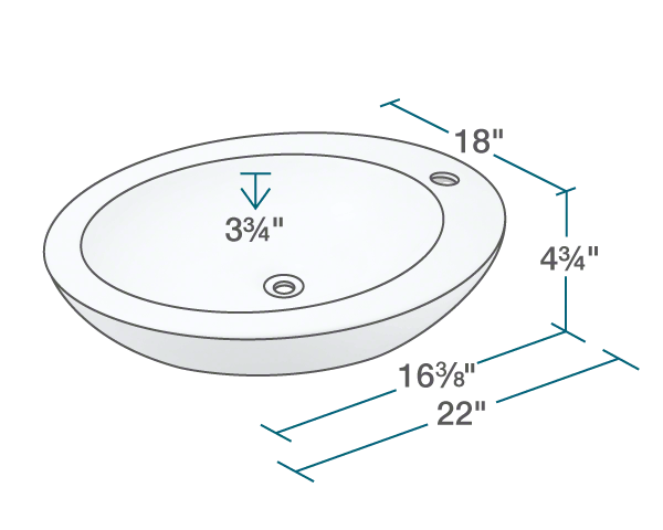 "The dimensions of V3202-Bisque Porcelain Vessel Sink is 18"" x 22"" x 4 3/4""."