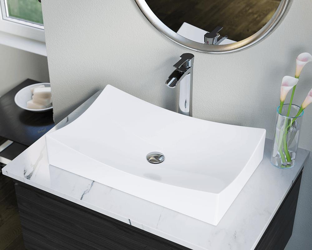 V330 White Porcelain Vessel Sink, Bathroom Vessels Sinks