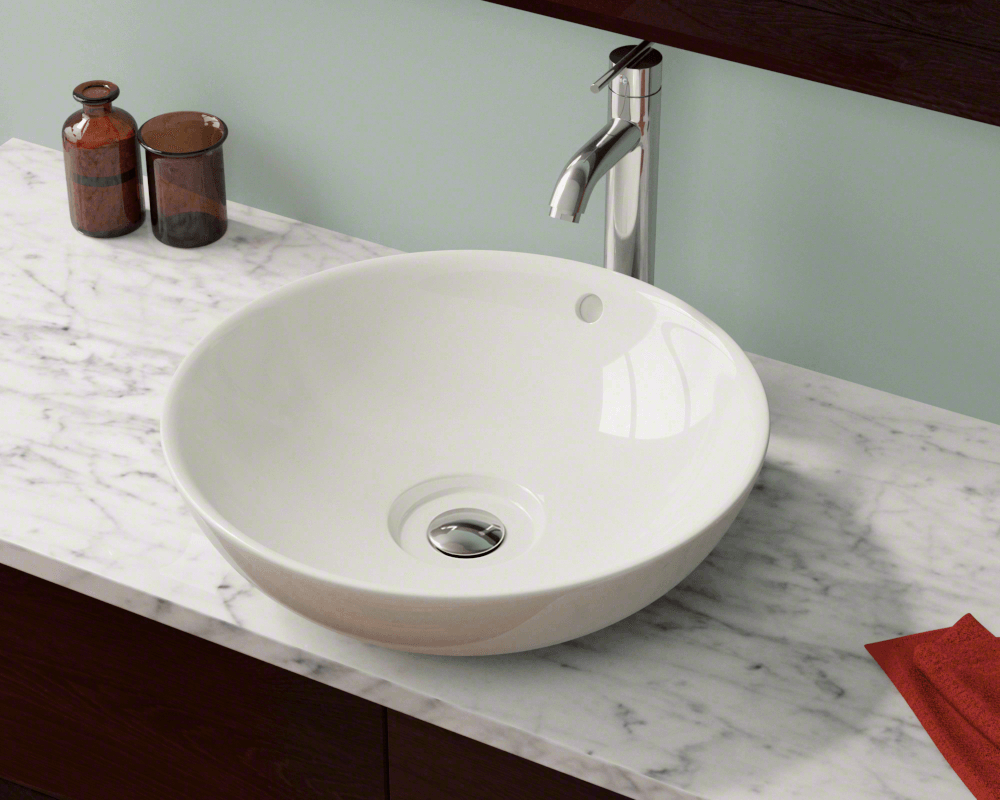 V340-Bisque Lifestyle Image: Vitreous China Round Bisque Vessel Bathroom Sink