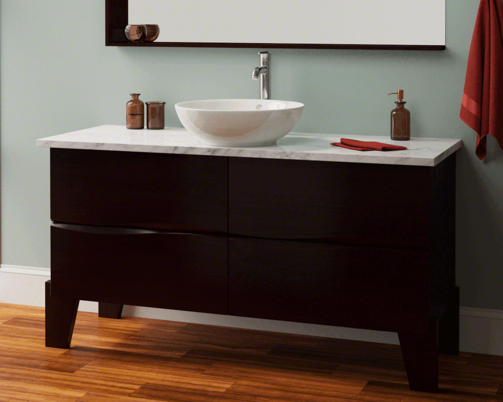 V340-Bisque Lifestyle Image: Vitreous China Round Vessel Bisque Bathroom Sink