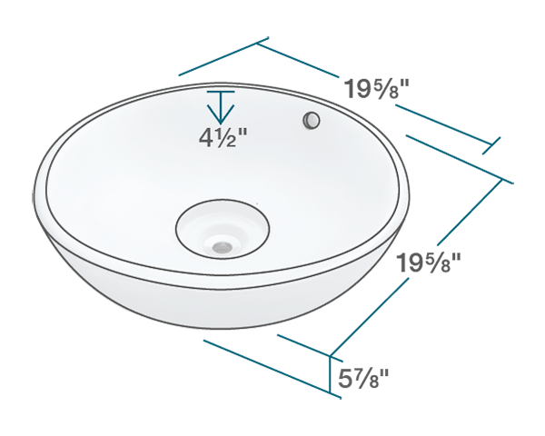"The dimensions of V340-Bisque Porcelain Vessel Sink is 19 5/8"" x 19 5/8"" x 5 7/8"". Its minimum cabinet size is 21""."