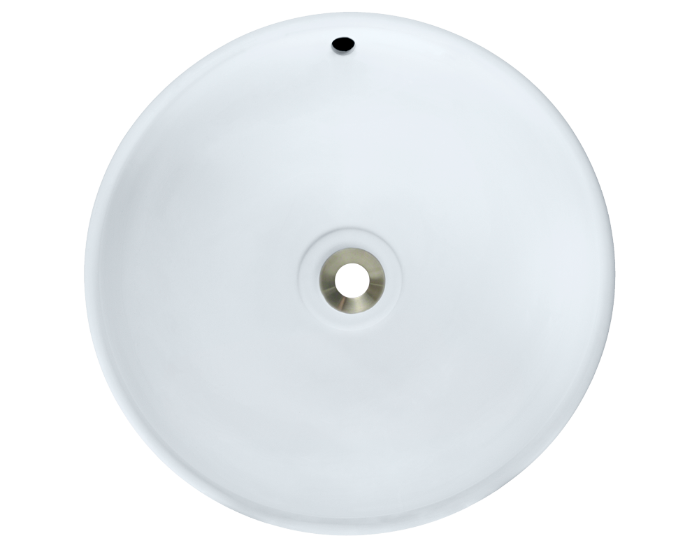V340-White Alt Image: Vitreous China Round Vessel White Bathroom Sink
