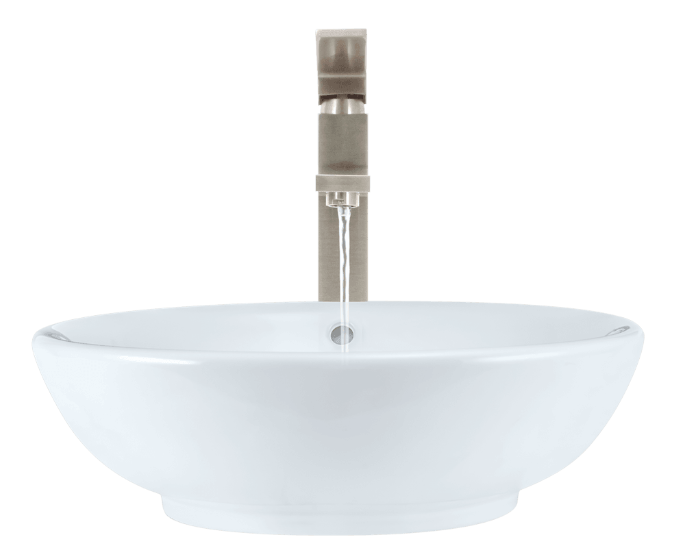 V340-White Alt Image: Vitreous China Vessel Round White Bathroom Sink