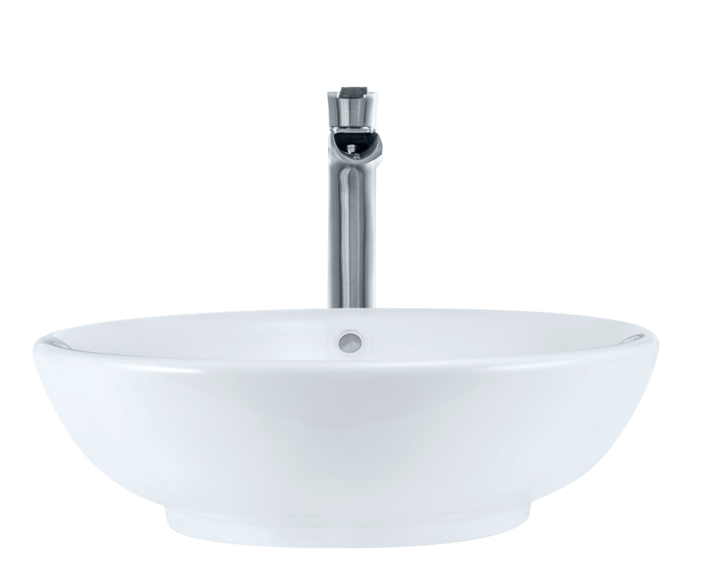 V340-White Alt Image: Vitreous China White Vessel Round Bathroom Sink