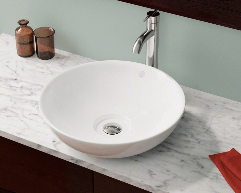 V340-White Lifestyle Image: Vitreous China Vessel White Round Bathroom Sink