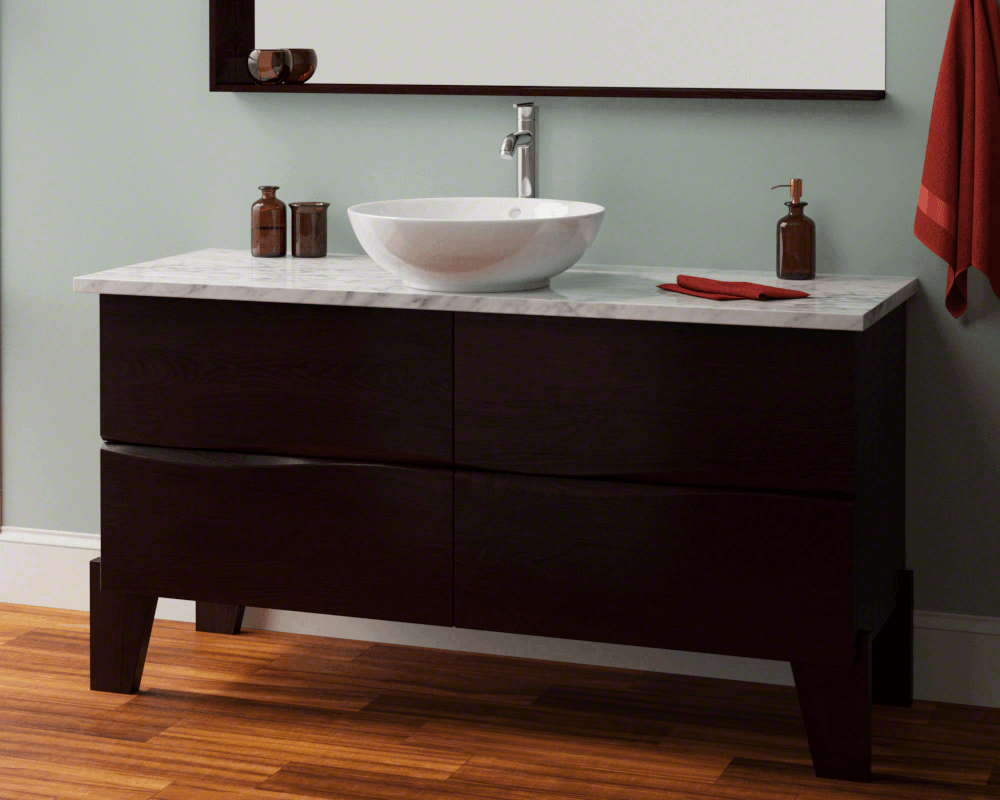 V340-White Lifestyle Image: Vitreous China Round Vessel White Bathroom Sink