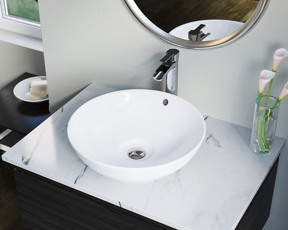 V340-White Lifestyle Image: Vitreous China Round White Vessel Bathroom Sink