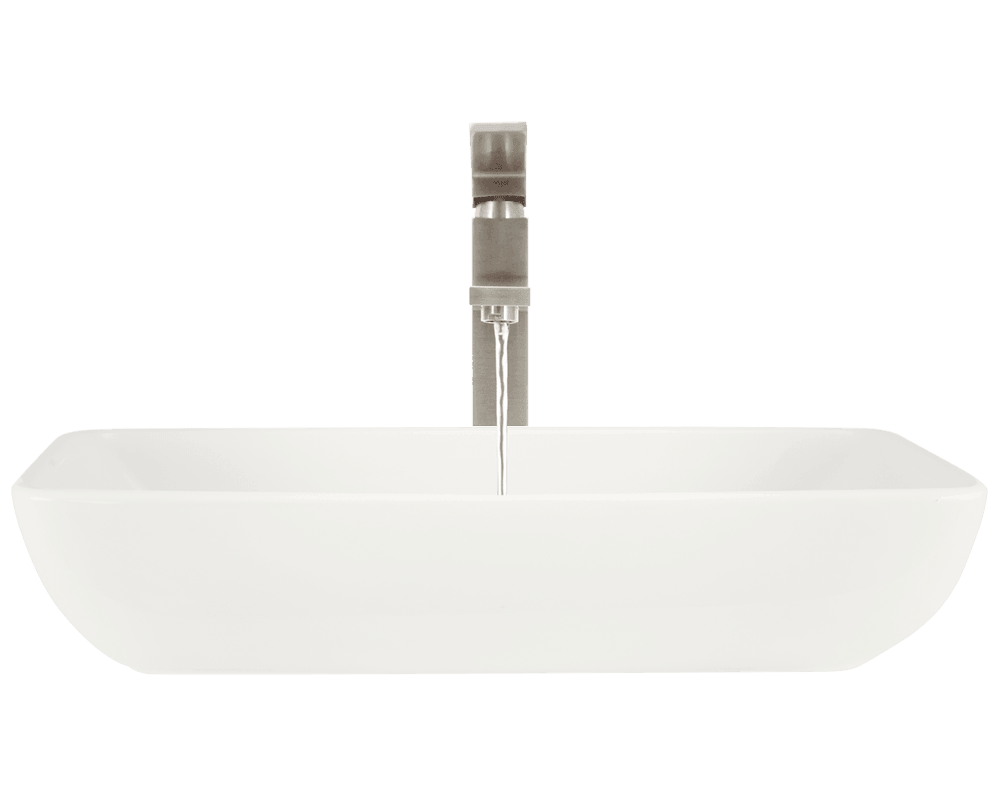 V350-Bisque Alt Image: Vitreous China Vessel Rectangle Bisque Bathroom Sink