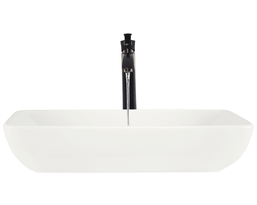 V350-Bisque Alt Image: Vitreous China Vessel Bisque Rectangle Bathroom Sink