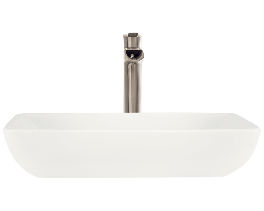 V350-Bisque Alt Image: Vitreous China Bisque Vessel Rectangle Bathroom Sink
