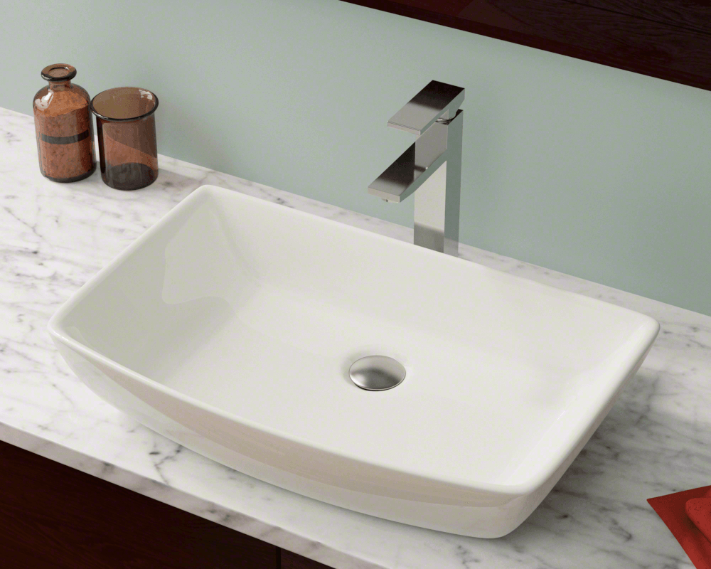 V350-Bisque Lifestyle Image: Vitreous China Rectangle Bisque Vessel Bathroom Sink