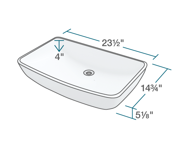 "The dimensions of V350-Bisque Porcelain Vessel Sink is 23 1/2"" x 14 3/4"" x 5 1/8"". Its minimum cabinet size is 24""."