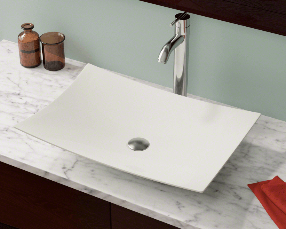 V360-Bisque Lifestyle Image: Vitreous China Rectangle Bisque Vessel Bathroom Sink