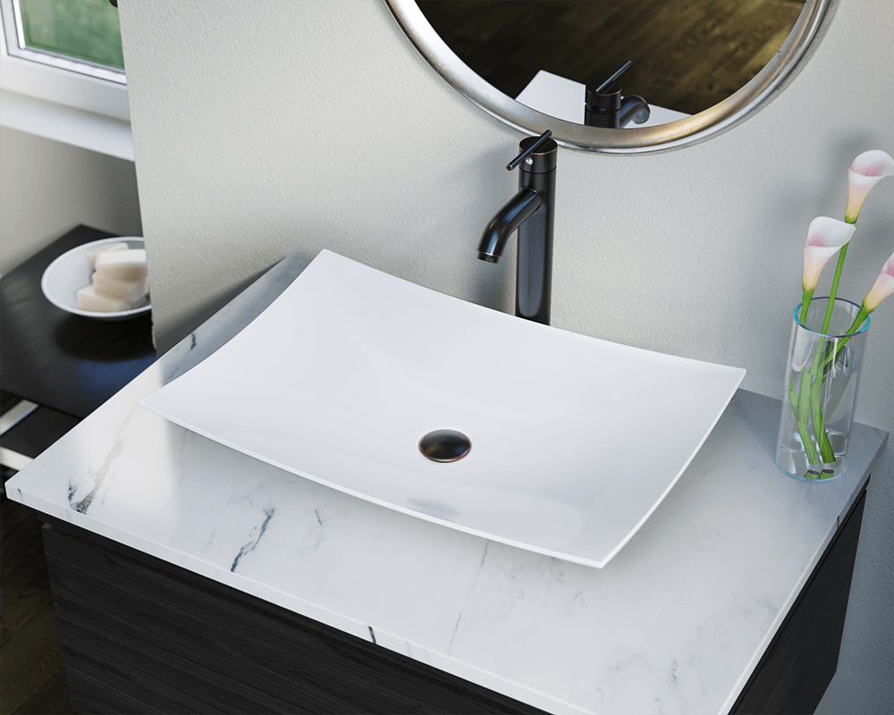 V360-White Lifestyle Image: Vitreous China Rectangle White Vessel Bathroom Sink