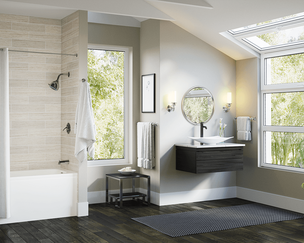 V360-White Lifestyle Image: Vitreous China Vessel Rectangle White Bathroom Sink