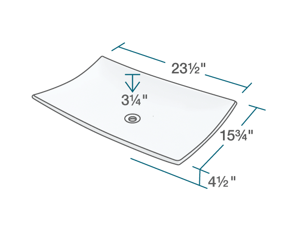 "The dimensions of V360-White Porcelain Vessel Sink is 23 1/2"" x 15 3/4"" x 4 1/2"". Its minimum cabinet size is 24""."