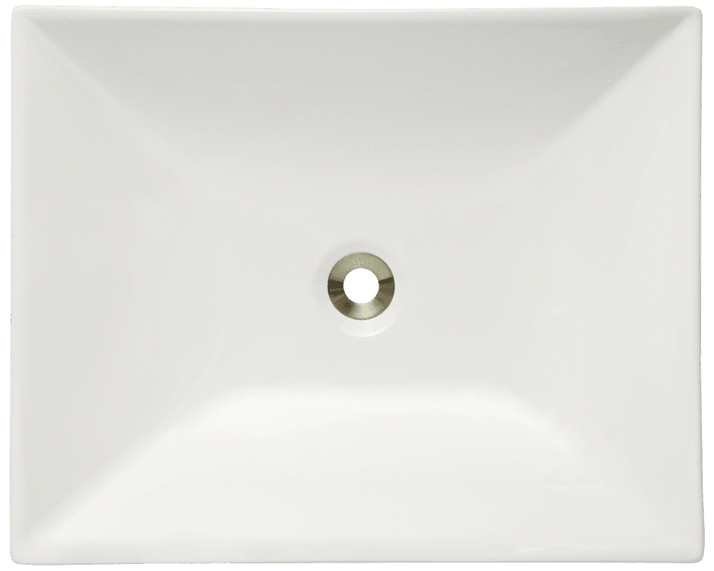 V370-Bisque Alt Image: Vitreous China Rectangle Vessel One Bowl Bathroom Sink