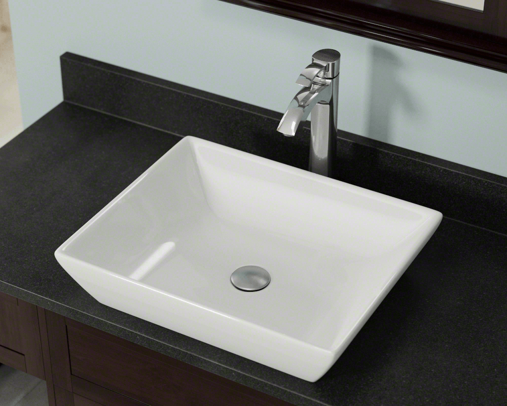 V370-Bisque Lifestyle Image: Vitreous China Rectangle One Bowl Vessel Bathroom Sink