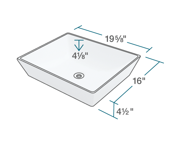 "The dimensions of V370-White Porcelain Vessel Sink is 19 5/8"" x 16"" x 4 1/2"". Its minimum cabinet size is 21""."